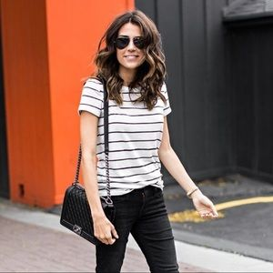 ILY couture black and white striped shirt